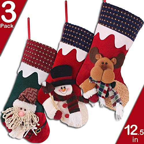 PartyBus 3 Pack 12'' Large Size 3D Christmas Stockings, Rustic Xmas Personalized Stocking Decoration for Family Holiday Season Décor, Santa Snowman Reindeer -