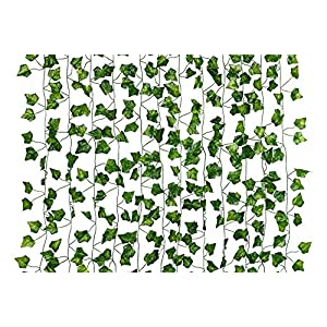Dedoot Ivy Leaves Garland, 12 Pcs (79 Inch Each) Fake Ivy Garland Artificial Poison Ivy Leaves for Craft Costume Wedding Party and Wall Decor 80