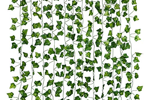 Dedoot Ivy Leaves Garland, 12 Pcs (79 Inch Each) Fake Ivy Garland Artificial Poison Ivy Leaves for Craft Costume Wedding Party and Wall -