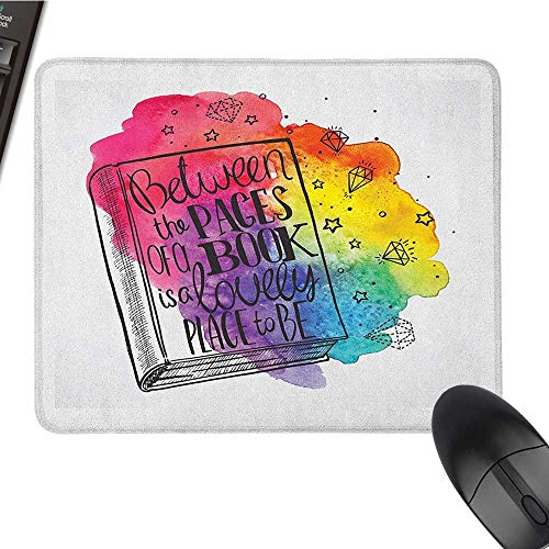 Mouse pad for Gaming Book,Between The Pages of a Book Motivational Quote Print Among Vivid Colors and Diamonds, Multicolor Personalized Mouse pad 9.8 x11.8 -