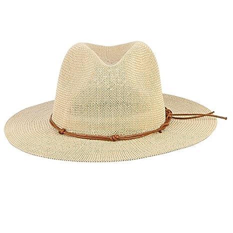 0b5cd493d46 Amazon.com   ALWLj Breathable Hollow Out Big Large Brim Men Straw Hats Beach  Sun Hat Adjustable Jazz Fedora Cap Male Summer Panama Hats   Sports    Outdoors