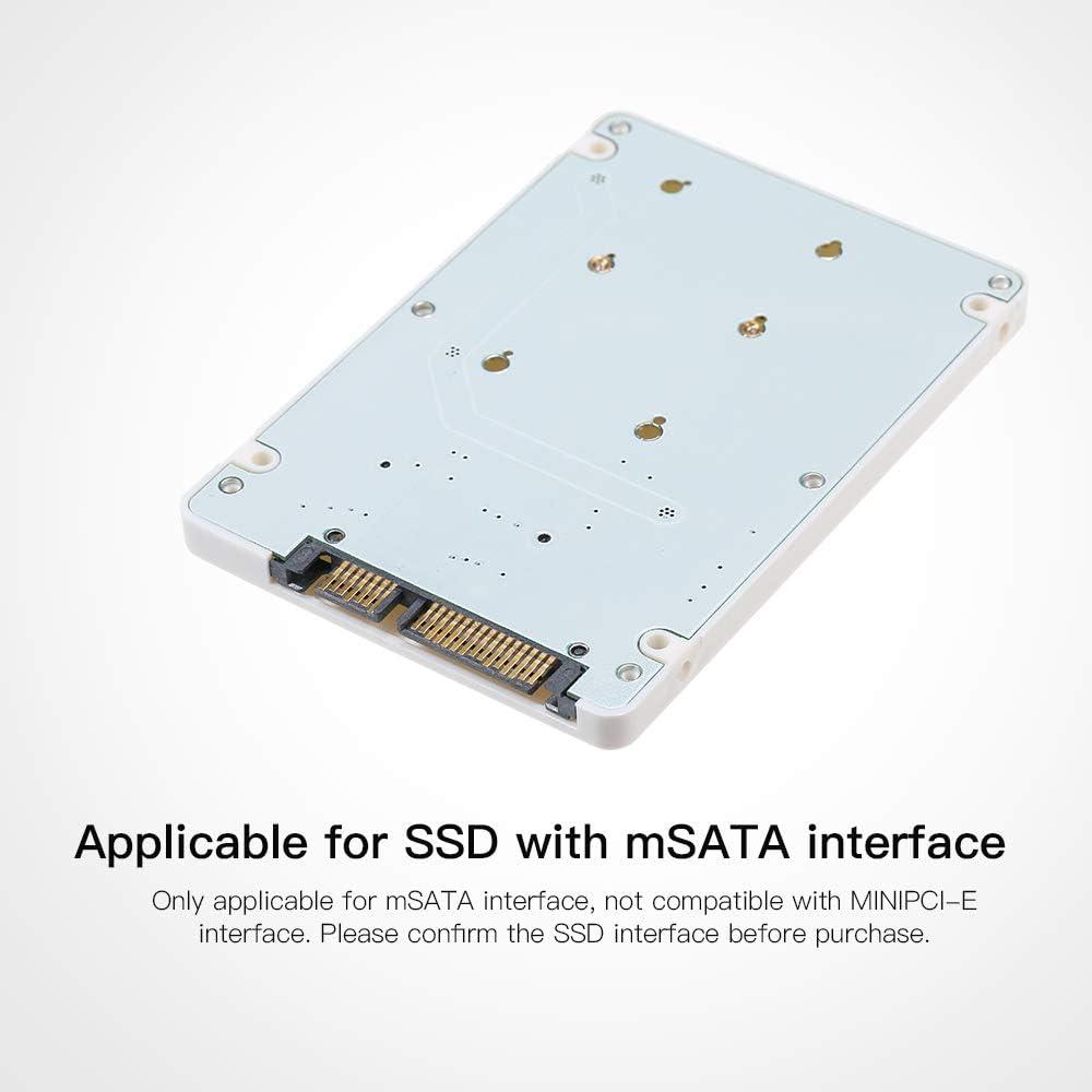 Festnight mSATA to SATA Enclosure mSATA to 2.5 SATA Adapter SSD Hard Drive Converter to SATA 3.0 Card with Case