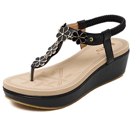 New Womens Platform (Meeshine Womens Wedge Sandals Thong Platform Beaded Slingback Bohemia Summer Sandal New Black US)