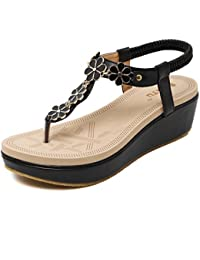 Womens Wedge Sandals Thong Platform Beaded Slingback Bohemia Summer Sandal