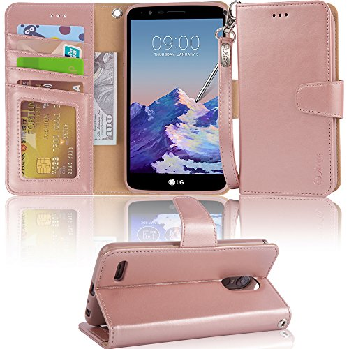 Price comparison product image LG Stylo 3 Case, LG Stylo 3 Plus Case, Arae LG G Stylo 3 wallet Case with Kickstand and Flip cover, Rosegold