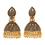 Efulgenz Indian Bollywood Bridal Designer Jewelry Oxidized Gold Plated Traditional Jhumka Jhumki Hoop Earrings for Women and Girls