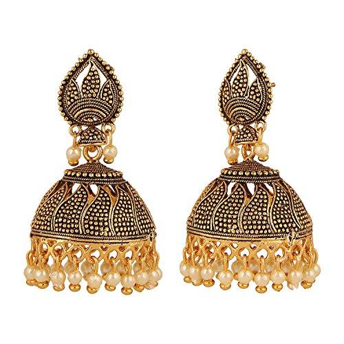Designer Bridal Earrings - Efulgenz Indian Bollywood Bridal Designer Jewelry Oxidized Gold Plated Traditional Jhumka Jhumki Hoop Earrings for Women and Girls