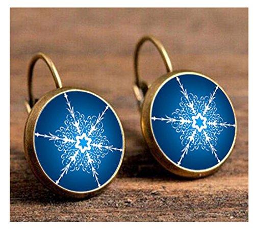 [Darkey Wang Women's Fashion Classic Snowflake Earrings(gold)] (Hammer And Nail Halloween Costumes)
