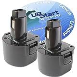2-Pack DeWalt 9.6V Battery Replacement - Compatible with DeWalt DW9062, DW926, DC750KA, DW9061, DW955K, DW955, DW926K-2, DW926K, DW902, DW050, DC855KA, DE9062, DE9061, DW955K-2, DW050K, DE9036 (1300mAh, NICD)