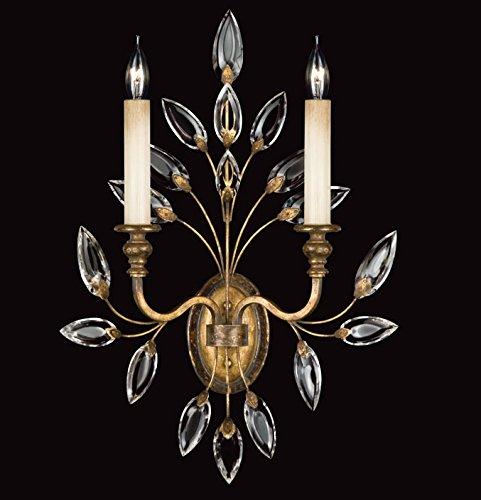 Gold Crystal Chandelier Laurel (Fine Art Lamps 775250, Crystal Laurel Candle Crystal Wall Sconce Lighting, 2 Light, 120 Watts, Gold)