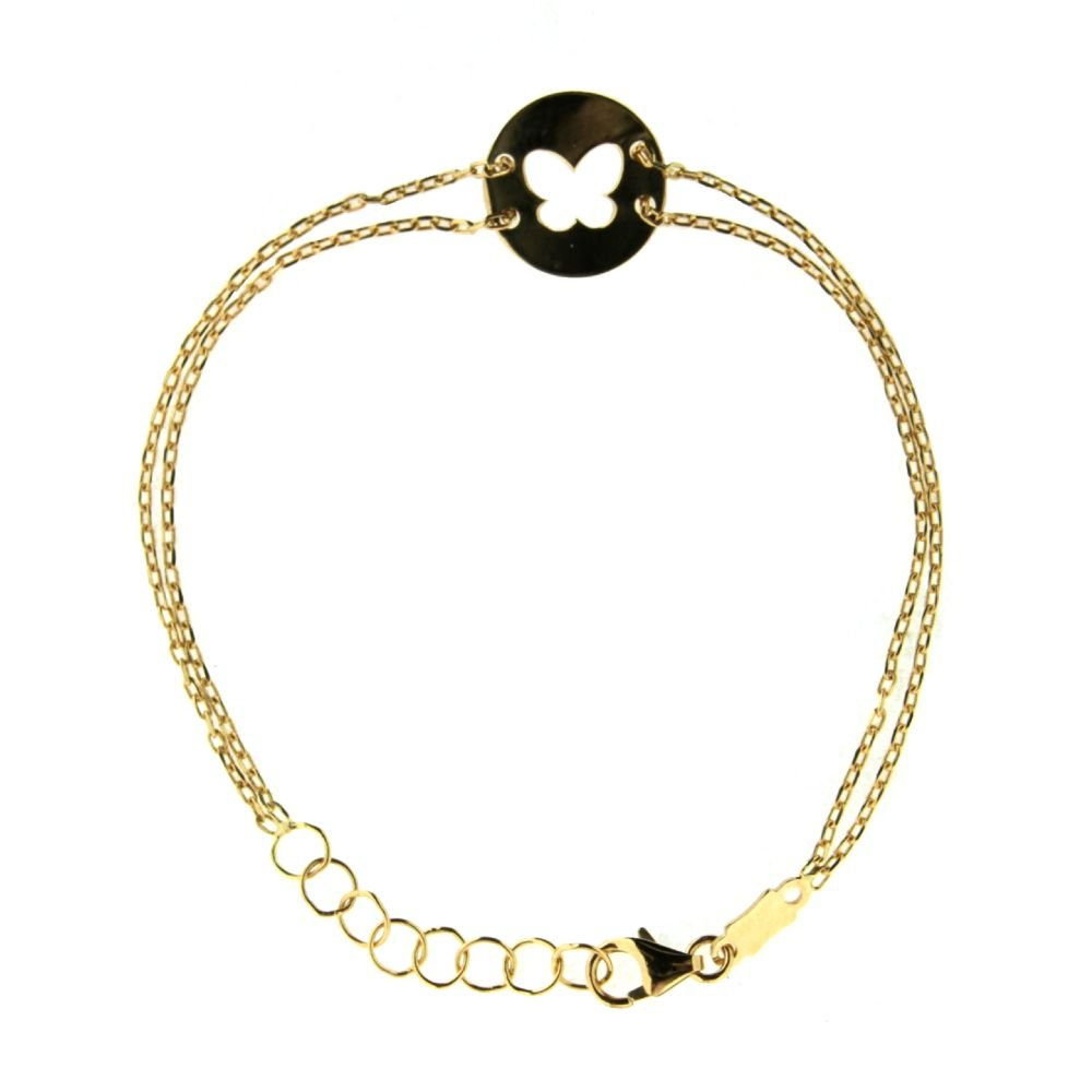 18K Yellow Gold circle open cut butterfly doble chain bracelet 6 inches with extra rings staring at 5.25 inches