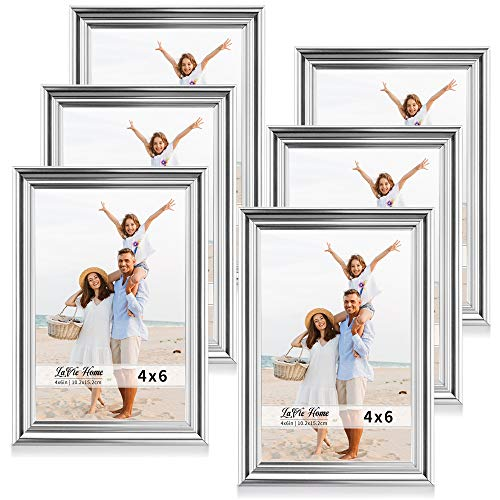 LaVie Home 4x6 Picture Frames(6 Pack, Silver) Single Photo Frame with High Definition Glass for Wall Mount & Table Top Display, Set of 6 Basic Collection (6 Photo Frame Silver)