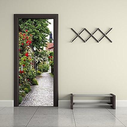 Door Wallpaper Stickers Home Bedroom Eco-friendly Mural Self-adhesive Wallpapers