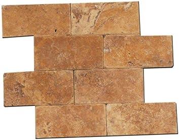 3x6 Gold Yellow Tumble Travertine Tiles For Backsplash Shower Walls Bathroom Floors Marble Tiles Amazon Com