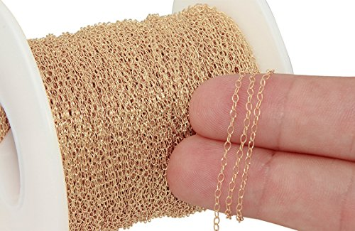 (5 Feet 14K Gold Filled Small bulk chain 1.4x2.2 mm 29 gauge (0.25 mm) Thickness For Diy Beading Arts And Crafts)