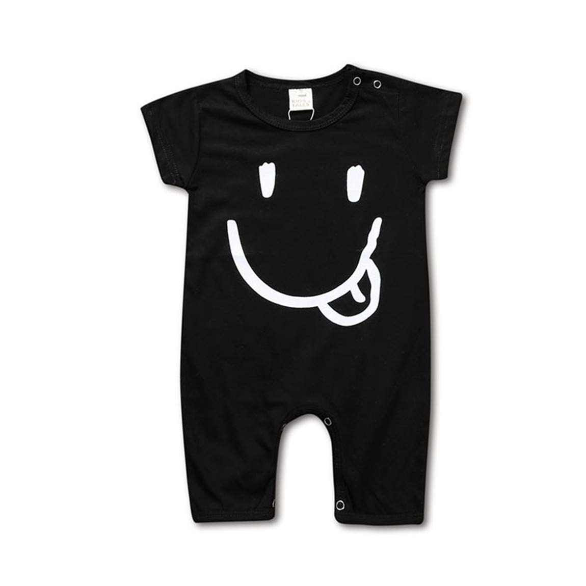 Infant Baby Boys Girls Solid Color Rompers Short Sleeve Snap One-Piece Bodysuit Pajama Suit (Smiling face(Black), for 2-3 Years) by Amberetech