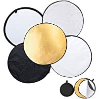 UTEBIT Reflector Photography 5 in 1 Multi Disc Reflector 80cm / 32in Photo Reflectors Diffuser Collapsible Gold Silver Black White Transparent for Photo Studio
