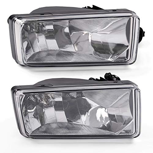 Clear Lens OE-Style Front Fog Light Driving Lamp Assembly For 2007-2013 Chevy Silverado 1500 2500HD 3500HD Avalanche Tahoe Suburban Built-In 5202 Bulbs Driver & Passenger Side