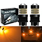NGCAT 900 Lumens 2PCS 3014SMD 78-EX Chipsets 3157 3156 3057 4157 3155 LED Bulbs with Lens Projector Brake Turn Signal Tail Backup Reverse Lights,12-24V Amber
