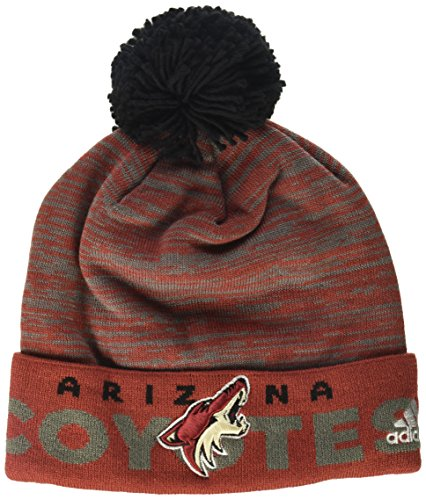 fan products of NHL Arizona Coyotes Adult Men Pro Authentic Cuffed Pom Knit, One Size, Red