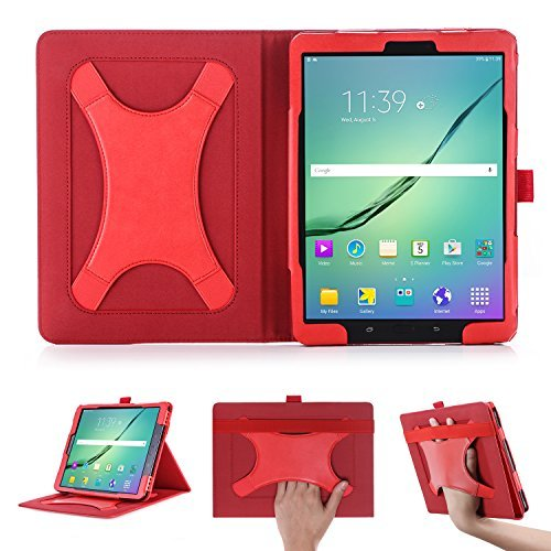 xy Tab S3 SM-T820/SM-T825 Tab S2 T810 9.7 Inch Case with Multi Angle Support Xband Enhanced Hand Strap - PU Leather Tablet Cover with Magnetic Auto Wake/Sleep Feature (Red) ()