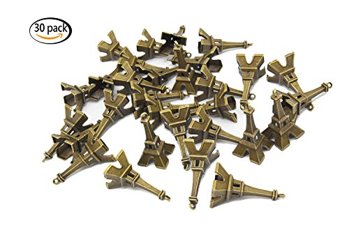 Youkwer 30PCS 47x22mm Antique Alloy Eiffel Tower Charms Pendants for DIY Crafting and Jewelry Ma ...