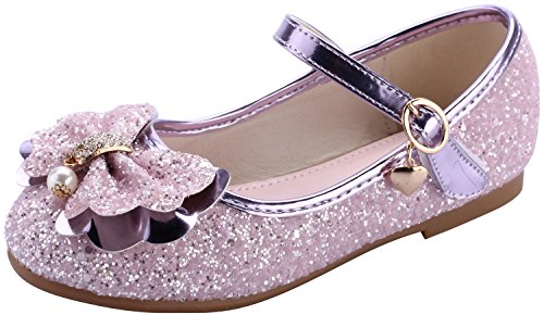 miaoshop Flower Girls Dress Ballet Flats Casual School Mary Jane Glitter Bow Shoes (12.5 M US Little Kid, Purple)