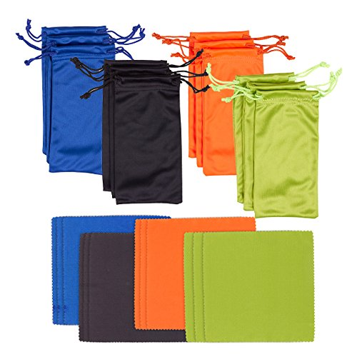 12 Pack Microfiber Cloth and Microfiber Pouch - Eyeglass Cloth and Matching Microfiber Bag, Black, Blue, Orange, - Lens Eyeglasses Best The Is For What