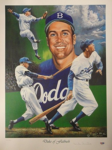 Duke Snider Hand Signed Autographed 18x24 Signed Poster Duke of Flatbush PSA/DNA