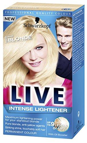 Schwarzkopf Live Intense Lightener 00b Max Blonde Permanent Hair Colour (Live Color Xxl Colour Intense Cosmic Blue 90)