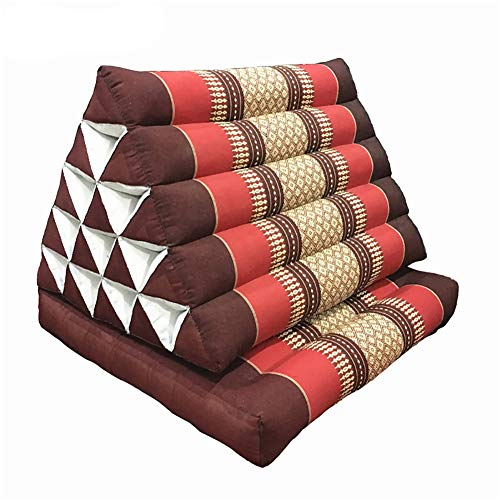 TALSOFA Thai Cushion, 100% Natural Kapok Filling, Foldable Thai Mat with Triangle Cushion, Headrest, Thai Pillow,Purple&Red