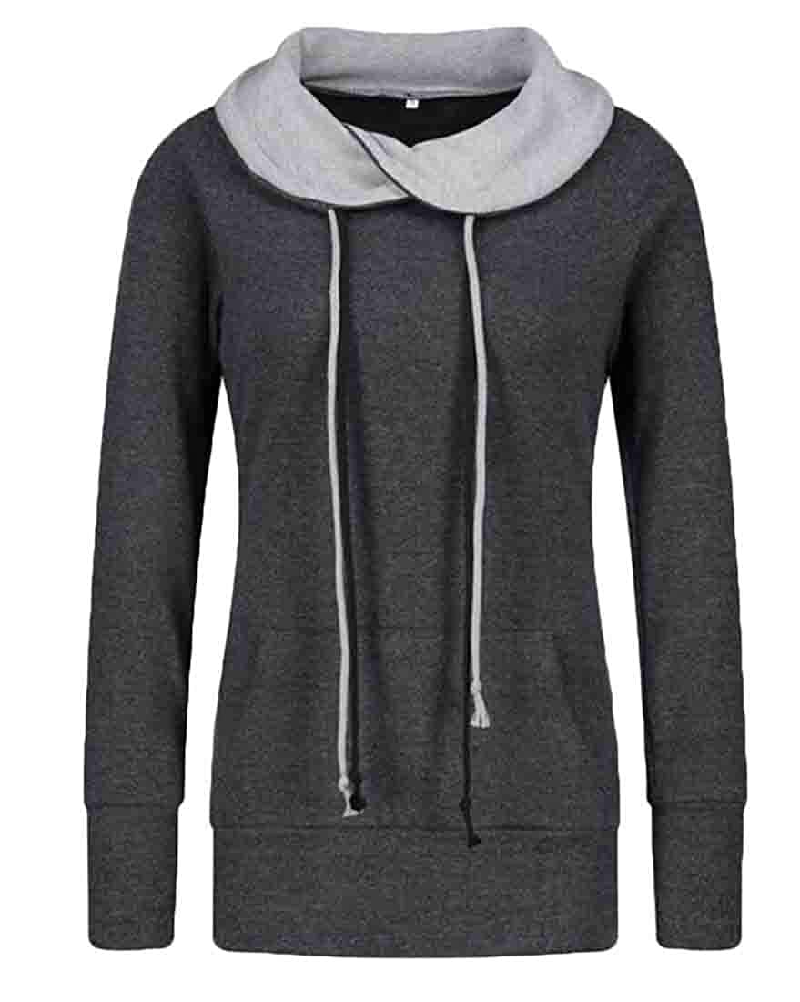 S-Fly Women Kangaroo Pocket Fashion Drawstring Pullover Hoodie Sweatshirt
