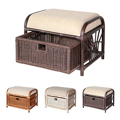 Vanity Footstool - Krit Handmade Rattan Wicker Ottoman Footstool Pouf Stool w/Basket w/Cushion color Dark Brown