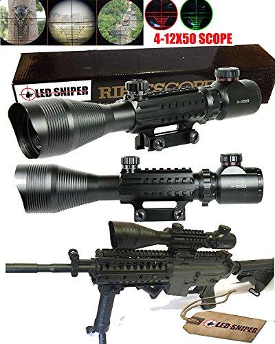 Ledsniper4-12x50-Eg-Optical-Rifle-Scope-Mil-dot-Dual-Illuminated-w-Side-Rails-Mount