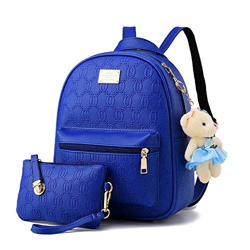 Damas en relieve Pu cuero mochila bolso de adolescentes Mochila de viaje Mochilas tipo casual Bolsas De Escuela Blanco Bolsos Mochila Azul Real Bolsos Mochila
