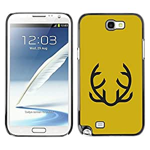 LECELL--Funda protectora / Cubierta / Piel For Samsung Galaxy Note 2 N7100 -- Yellow Abstract Moustache Mustard --