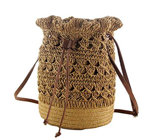 Femmes Crochet Paille Tricoté Léger dos à Brun Sac bandoulière Loisirs à Clair Sac 2 Fleur rnrRFqx1Uf