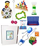 10 Piece Bundle of Retro Classic Activities, Toys & Games for Kids or Adults (Includes Light up Gyro Wheel, Mini Bowling, Tricky Triangle, Clackers, Water Wheel, Brain Teaser & More)