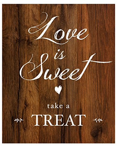 2 City Geese Love is Sweet Take a Treat Sign for Wedding Reception | Rustic Wood Look On Linen Textured Thick Cardstock Paper | Wedding Reception ()