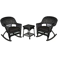 Jeco W00207R-D_2-RCES017 3 Piece Rocker Wicker Chair Set with Cushion, Black
