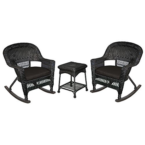 Jeco W00207R-D_2-RCES017 3 Piece Rocker Wicker Chair Set with with Cushion, Black