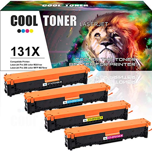Cool Toner Compatible Toner Cartridge Replacement for HP 131X CF210X 131A CF211A CF212A CF213A HP Color Laserjet Pro 200 Color M251nw MFP M276nw Printer,HP Color Laser Printer M251nw M276nw Toner-4PK