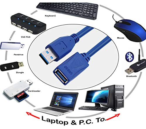 Storite 150cm - 4.5 Foot - 1.5 Metre USB 3.0 Male A to Female A Extension Cable Super Speed 5GBps for Laptop/PC/Printers Blue