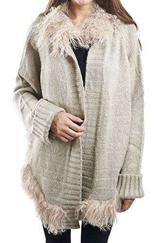 Alberto Makali Open Front Cardigan Sweater With Lamb Fur Trim 361419 Size (Alberto Makali Tops)