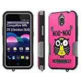 ZTE [Obsidian] Tough Case [SlickCandy] [Black/Gray] Hybrid Combat [Kick Stand] [Shock Proof] Phone Case - [Hoo is There Owl] for ZTE [Obsidian]