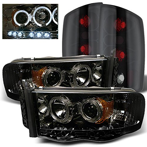 For Dodge Ram 1500 2500 3500 Smoked Lens Halo Projector LED Headlights + Black Smoke Tail Lights Lamps