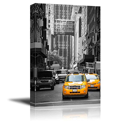 Black and White Photograph with Pop of Color on Yellow Taxis of New York