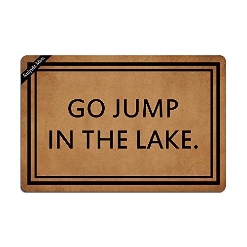 Ruiyida Go Jump in The Lake Entrance Floor Mat Funny Doormat Door Mat Decorative Indoor Outdoor Doormat Non-Woven 23.6 15.7 Inch Machine Washable Fabric Top