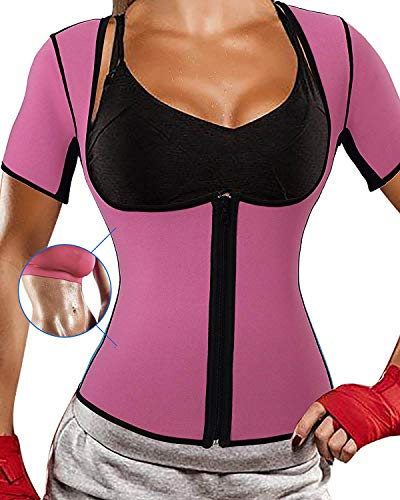 Optlove Women's Neoprene Sauna Shirt Sweat Vest Hot Thermal Gym Tank Corset Suit Exercise Fitness Top Body Shaper with Sleeves Weight Loss