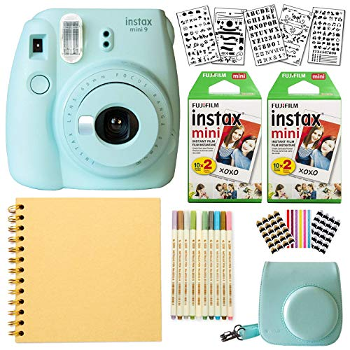 Fujifilm Instax Mini 9 Instant Camera (ICE Blue) + Fuji INSTAX Film (40 Sheets) + Bundle with: Groovy Camera Case + Scrapbook Photo Album + Stencils + Metallic Markers + Photo Corners